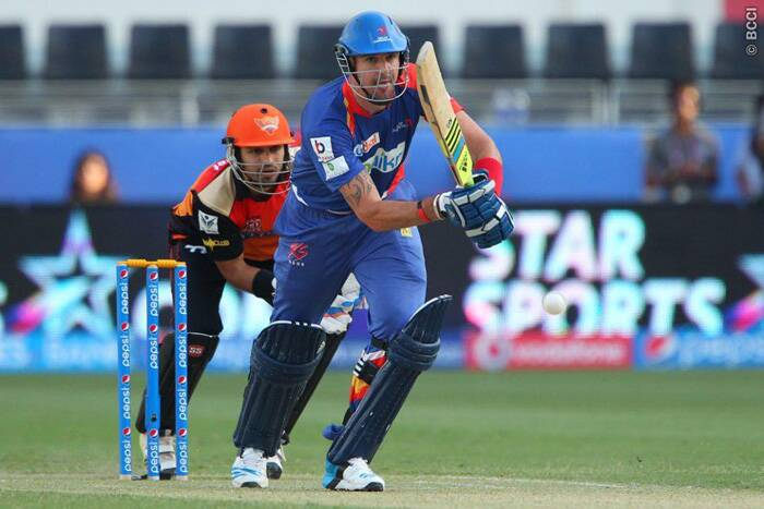 Delhi Daredevils captain Kevin Pietersen plays a shot during the match against Sunrisers Hyderabad in Dubai. This is his first match of the season after injuring his little finger during practice for Surrey. (Photo: BCCI/IPL)