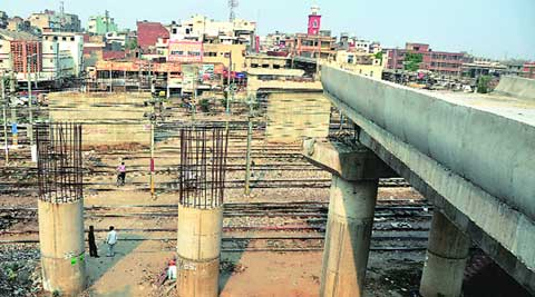 The proposed Y-shaped bridge with its one side near Reikhy Cinema and the other near Bhadaur House is still nowhere near completion. (Express)