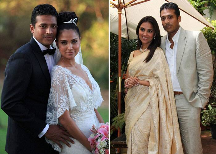<b>Lara Dutta-Mahesh Bhupathi</b>: Now here it is the other way round - bride was a Punjabi and groom from Bangalore yes we are talking about Lara Dutta and tennis star Mahesh Bhupathi. <br /><br /> Lara tied the knot with Mahesh in 2011 and have a daughter Samaira.