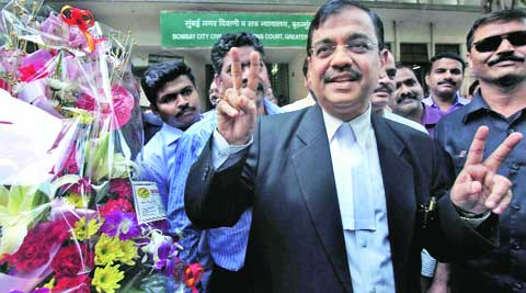 Public Prosecutor Ujjwal Nikam after the verdict, outside Bombay City Civil Sessions Court on Friday. (Pradip Das)