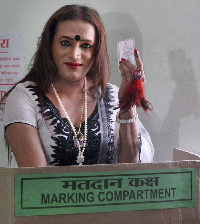 Transgender and social activist Laxmi Tripathi casting vote for Lok Sabha polls at a polling station in Navi Mumbai on Thursday. (PTI)