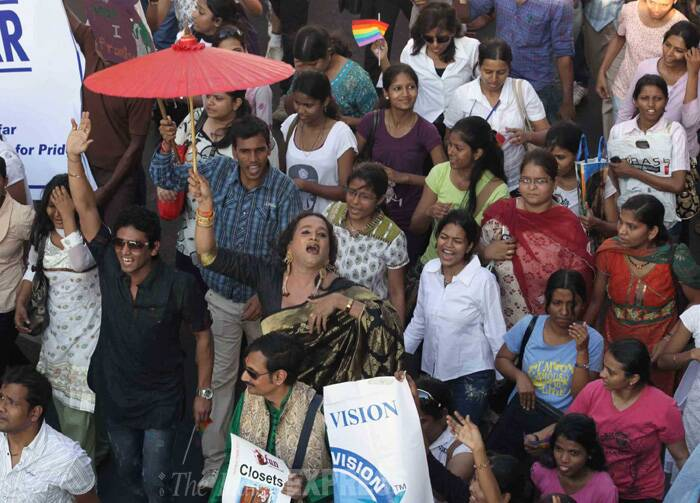 """We hope that the Centre will now treat us as socially and economically backward and consider us as OBCs for jobs,"" Patel said.<br />Transgenders celebrate after the SC verdict. (IE Photo: Ganesh Shirsekar)"