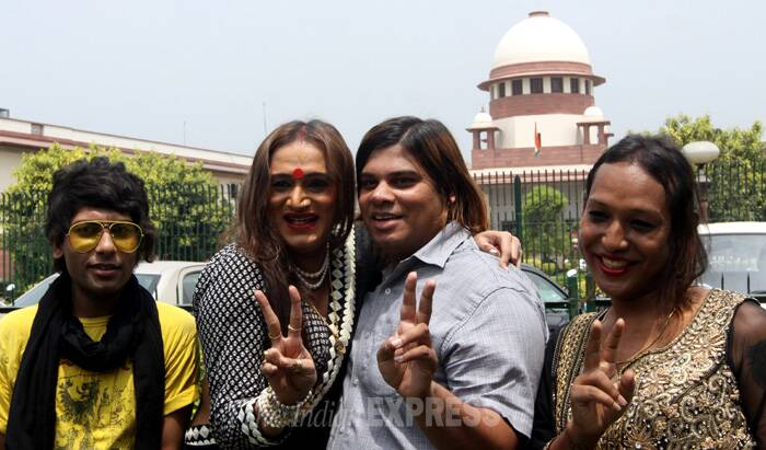"A bench of justices K S Radhakrishnan and A K Sikri held that discrimination faced by transgenders,also known as Hijras, eunuchs, Kothis, Aravanis, Jogappas, Shiv-Shakthis etc, is ""unimaginable"" and their rights have to be protected as they are citizens of the country and having all rights under the Constitution like the male or the female have.<br />Laxmi Narayan celebrates SC verdict. (IE Photo: Prem Nath Pandey)"