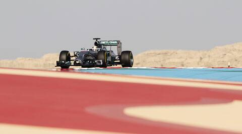 Mercedes F1driver Lewis Hamilton drives during the third practice session of the Bahrain F1 Grand Prix on Saturday. (Reuters)