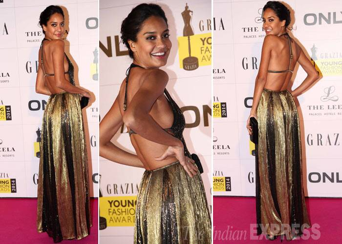 'Queen' actress and former model Lisa Haydon brings the sexy back in a Namrata Joshipura gown with a plunging neckline.  (Photo: Varinder Chawla)