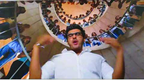 Arjun Kapoor in Locha - e - ulfat below the spiral staircase