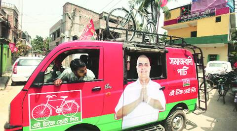 Campaign vehicle for Sudip Ranjan Sen in Raigunj. Partha Paul