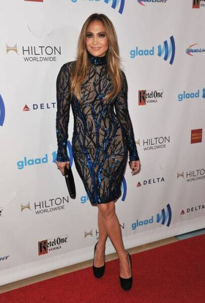 Jennifer Lopez arrives at the 25th Annual GLAAD Media Awards. (AP)