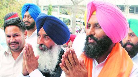 Simarjit Bains and Balwinder Bains on Monday. Gurmeet Singh