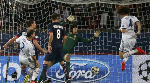David Luiz (R) scored an own goal, PSG's second, off Lavezzi's wicked delivery in the 58th minute. (Reuters)