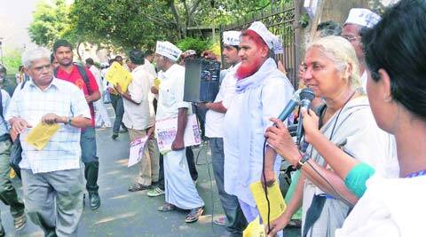 Medha Patkar at a roadshow in Vikhroli on Wednesday.(Express photo)