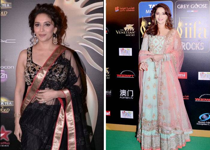 'Gulaab Gang' actress Madhuri Dixit was gorgeous in a rich black lehenga with a broad gold border. An elegant updo and danglers perfected her look for the night. She wore a mint coloured Manish Malhotra lehenga for the IIFA Rocks night.