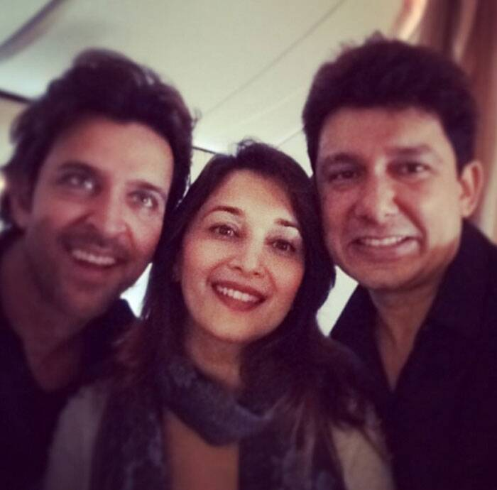 Selfie time: Hrithik, Madhuri and Dr. Sriram Nene have some fun.