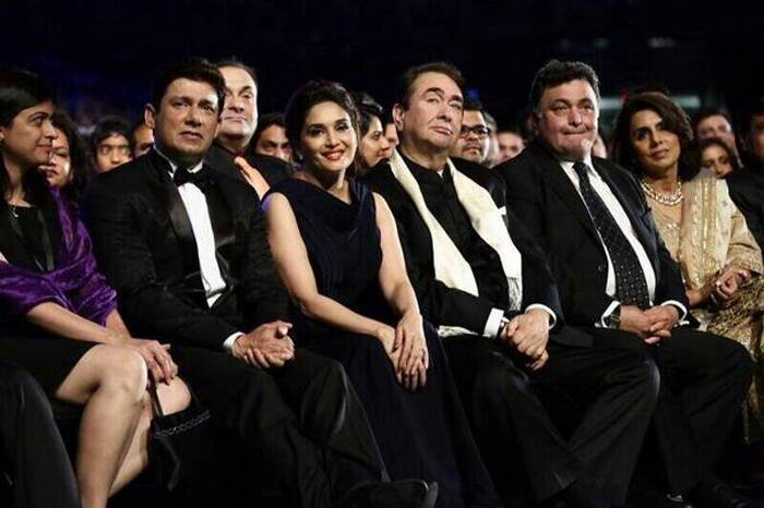 The front row: Madhuri Dixit and her husband Sriram Nene were accompanied by Randhir, Rishi and Neetu Kapoor. (Photo: Twitter)
