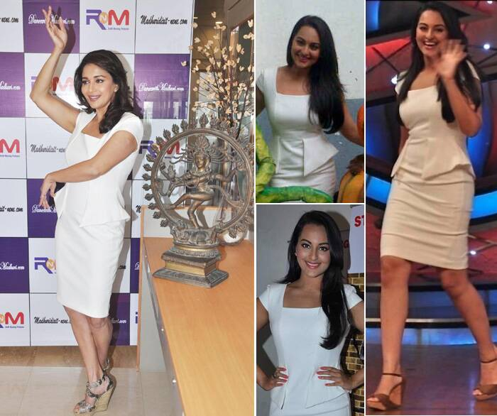 Madhuri Dixit also went down the copycat lane when she wore this immaculate white Zara dress to her website launch that was previously worn by Sonakshi Sinha on the sets of a reality dance show.
