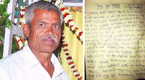 Dilip Magar committed suicide on April 7. Right: his suicide note