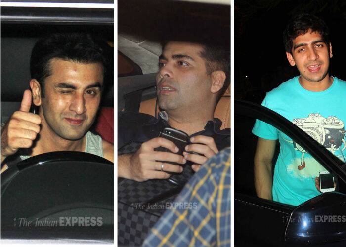 Actor Ranbir Kapoor's best friend Ayan Mukerji and director Karan Johar were spotted outside the 'Yeh Jawaani Hai Deewani' actor's residence on Friday night, April 4.