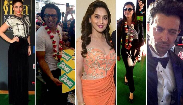Bollywood celebs like Kareena Kapoor Khan, Madhuri Dixit, Ranveer Singh, Hrithik Roshan walked the green carpet at the 15th IIFA Awards in Tampa Bay. Actors including Ranveer Singh and Dia Mirza received a warm welcome to Tampa Bay.