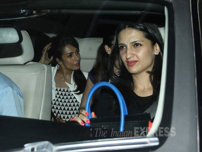 Malaika was seen in bold print top with a jacket. She tied her hair in a  high ponytail. (Photo: Varinder Chawla)