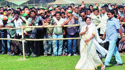 Chief Minister Mamata Banerjee during an election rally, in Alipurduar on Saturday. (PTI)