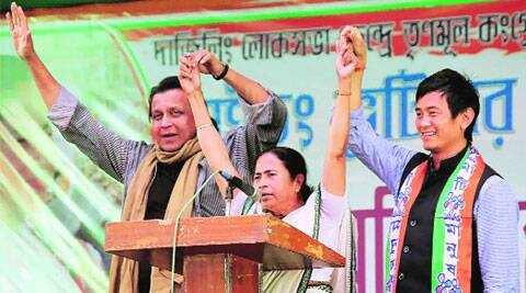 Mamata, Mithun Chakraborty and TMC candidate Baichung Bhutia during a party rally in Siliguri, on Sunday.