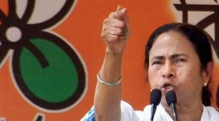 Mamata Banerjee at a party rally in Kolkata, Tuesday. (PTI)