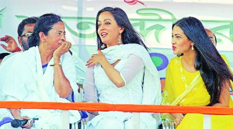 Mamata Banerjee with actors Raima and Ria Sen at an election rally at Suri in Birbhum on Friday. PTI