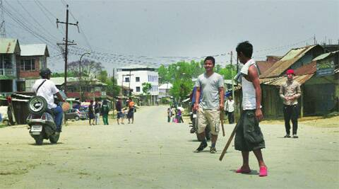 A deserted road in Manipur Monday. express