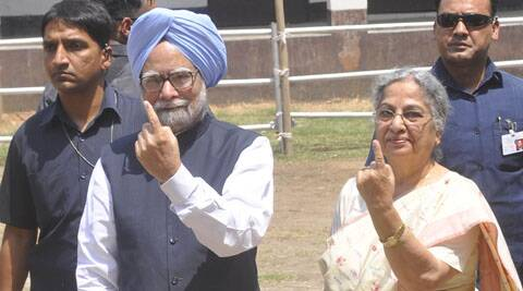 Manmohan Singh cast his vote for the Lok Sabha election in the Guwahati constituency.
