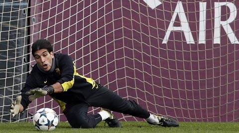 Jose Manuel Pinto will start for Barcelona, who will face Atletico Madrid in a first leg quarter-final at the Camp Nou (Reuters)