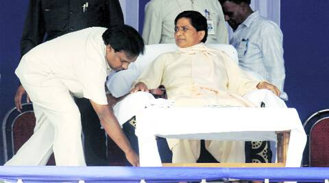 BSP chief Mayawati during an election rally at Shahid Minar, in Kolkata on Monday. (Partha Paul)