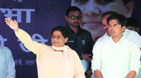Mayawati at the Aligarh rally. (Renuka Puri)