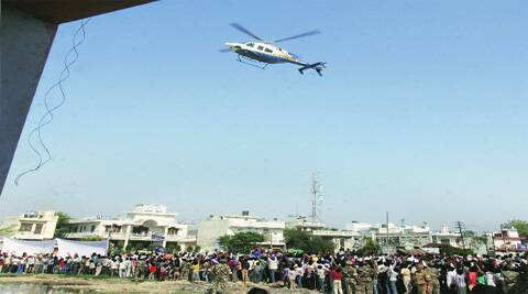 Mayawati's helicopter arrives at a western UP rally site.Renuka Puri