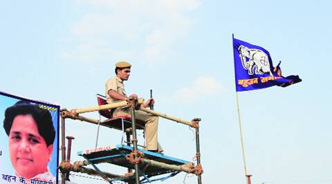 A policeman at the BSP rally in Sultanpuri on Monday. (Ajnavi Tarannum)