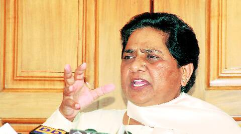 Mayawati speaks to media in Lucknow Monday.