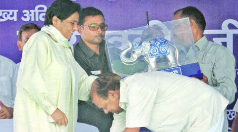 Mayawati during a meeting in favour of party candidates R K Chaudhary and Nakul Dubey, in Lucknow Saturday.