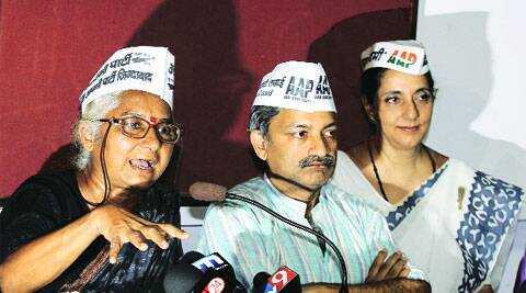 (From left): Medha Patkar, Mayank Gandhi and Meera Sanyal address a press conference Thursday. (Pradip Das)