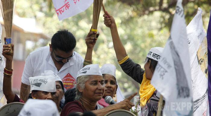 AAP Party candidate Medha Patkar addressing during a road show after filing her nomination paper in Mumbai on Thursday. (IE Photo: Narendra Vaskar)