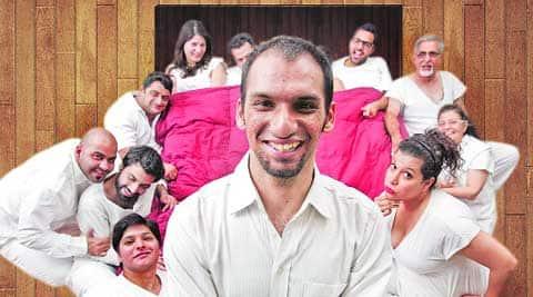 Meherzad Patel (centre) with the cast of Gujarati play Pakar Mari Poochri