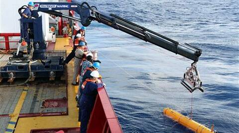 Autonomous underwater vehicle Bluefin-21, a US Navy probe equipped with side-scan sonar, has focused the search on an area where four acoustic signals were detected. (AP)