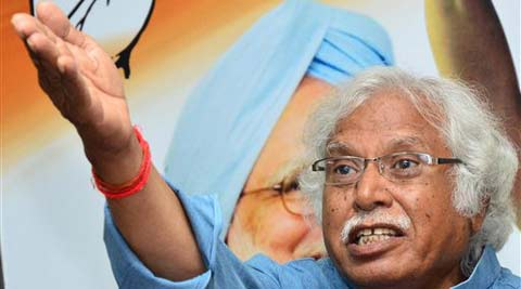 AICC General Secretary Madhusudan Mistry, addressing press during election campaigning in Ahmedabad on Saturday. (PTI Photo)