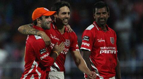 KXIP pacer Mitchell Johnson (centre) scalped two wickets in their match against Kolkata Knight Riders on Saturday. (BCCI/IPL)