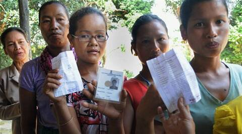 A woman shows her ink-marked finger after casting vote for Lok Sabha polls in Aizawl, Mizoram on Friday. <br /> Voting for the lone Lok Sabha constituency and an Assembly by-poll in Mizoram began on Friday, for which additional eight companies of central para-military forces had been deployed. (PTI)