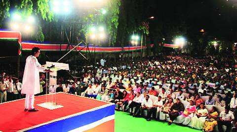 Raj Thackeray at the MNS rally in Jogeshwari on Tuesday. Amit Chakravarty
