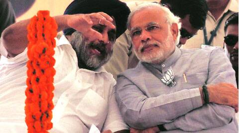 Sukhbir Badal with Narendra Modi in Ludhiana on Friday.