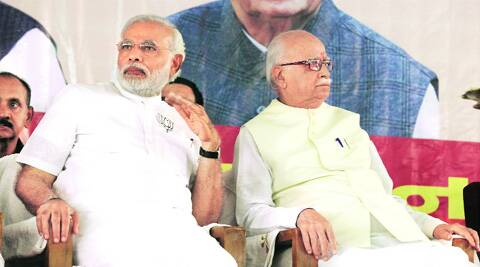Modi and Advani in Gandhinagar on Saturday. (Javed Raja)