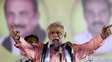 BJP Prime Ministerial candidate Narendra Modi addresses an election rally in Chennai on Sunday.  (PTI)