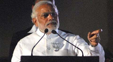 Modi at a rally at S P College Ground in Pune, Saturday.