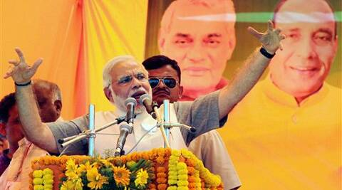 BJP Prime ministerial candidate Narendra Modi during an election campaign rally in Ghaziabad on Thursday. (PTI)