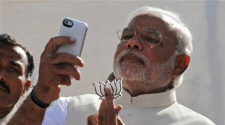 On April 30 this year, when the voting was underway for 26 Lok Sabha seats in Gujarat, Modi addressed a press  conference after casting his vote at a school in Ranip area here and allegedly displayed his party's symbol.